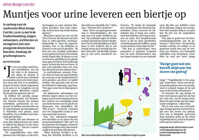 "Artikel in Parool ""Muntjes voor urine…"""