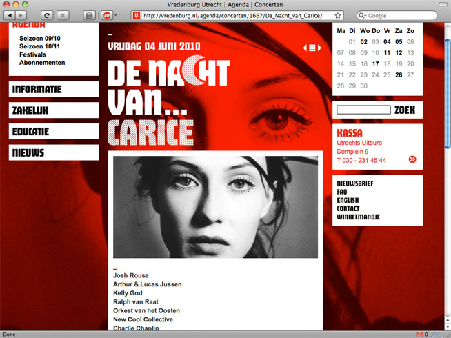 website Vredenburg - De nacht van Carice